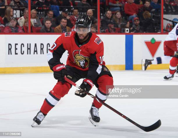 Anthony Duclair of the Ottawa Senators skates against the Columbus Blue Jackets at Canadian Tire Centre on April 6 2019 in Ottawa Ontario Canada