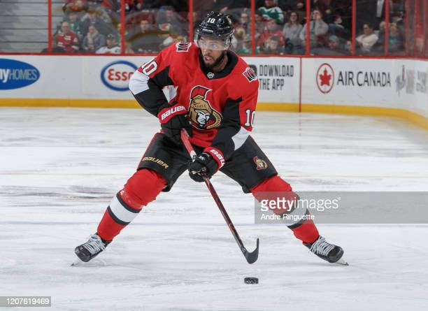 Anthony Duclair of the Ottawa Senators skates against the Dallas Stars at Canadian Tire Centre on February 16 2020 in Ottawa Ontario Canada