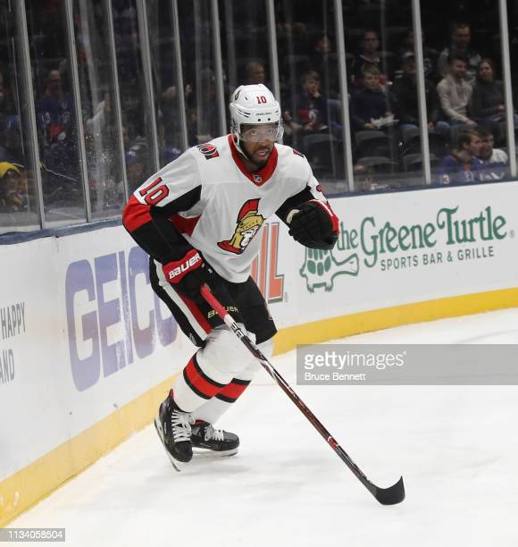 Anthony Duclair of the Ottawa Senators skates against the New York Islanders at NYCB Live's Nassau Coliseum on March 05 2019 in Uniondale New York...