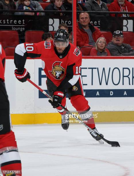 Anthony Duclair of the Ottawa Senators skates against the New York Islanders at Canadian Tire Centre on March 5 2020 in Ottawa Ontario Canada