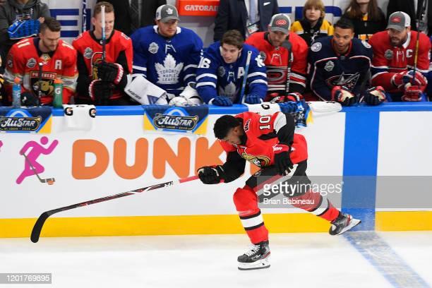 Anthony Duclair of the Ottawa Senators skates in the Bridgestone NHL Fastest Skater competition as part of the 2020 NHL AllStar Skills competition at...