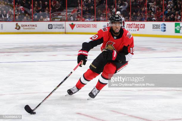 Anthony Duclair of the Ottawa Senators skates with the puck against the Washington Capitals at Canadian Tire Centre on January 31 2020 in Ottawa...
