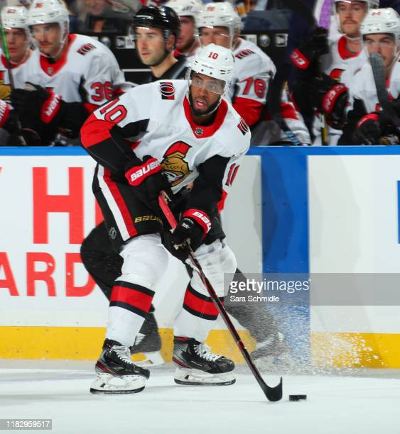 Anthony Duclair of the Ottawa Senators skates with the puck during an NHL game against the Buffalo Sabres on November 16 2019 at KeyBank Center in...