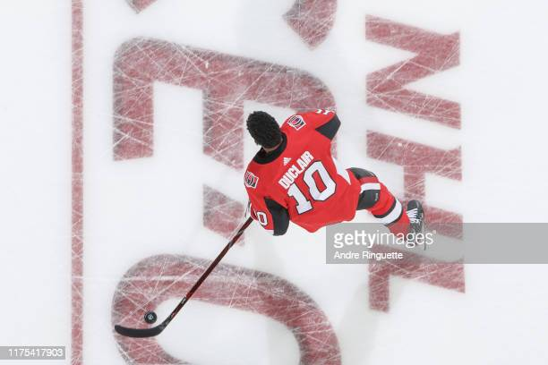 Anthony Duclair of the Ottawa Senators warms up prior to a game against the Tampa Bay Lightning at Canadian Tire Centre on October 12 2019 in Ottawa...