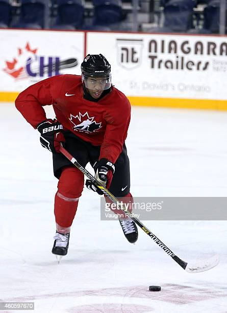 Anthony Duclair skates during the Canada National Junior Team practice at the Meridian Centre on December 17 2014 in St Catharines Ontario Canada