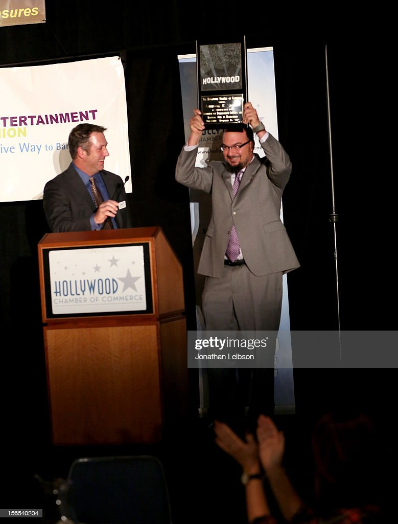 Anthony E. Zuiker, Creator/Executive Producer of CSI is awarded the Commitment to California Award onstage at Variety's Hollywood Chamber Entertainment Conference 2012 at Loews Hollywood Hotel on November 16, 2012 in Hollywood, California. .
