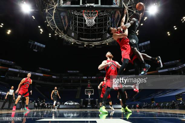Anthony Edwards of the Minnesota Timberwolves dunks the ball during the game against the Toronto Raptors on February 19, 2021 at Target Center in...