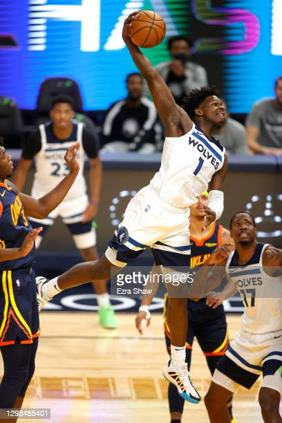 Anthony Edwards of the Minnesota Timberwolves goes up for a dunk on James Wiseman of the Golden State Warriors in the first quarter at Chase Center...