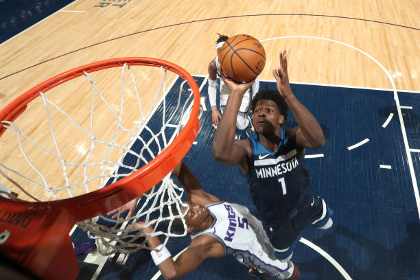 Anthony Edwards of the Minnesota Timberwolves shoots the ball during the game against the Sacramento Kings on April 5, 2021 at Target Center in...