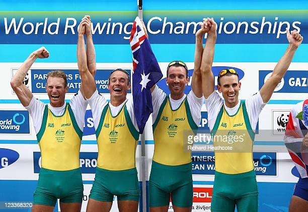 Anthony Edwards Samuel Beltz Benjamin Cureton and Todd Skipworth of Australia celebrate winning the Lightweight Men's Four final during day six of...