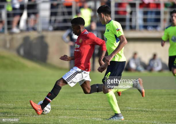 Anthony Elanga of Manchester United scores during the NI Super Cup junior section game between Manchester United and Colina at Seahaven on July 24...