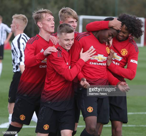 Anthony Elanga of Manchester United U18s celebrates scoring their first goal during the U18 Premier League North match between Manchester United U18s...
