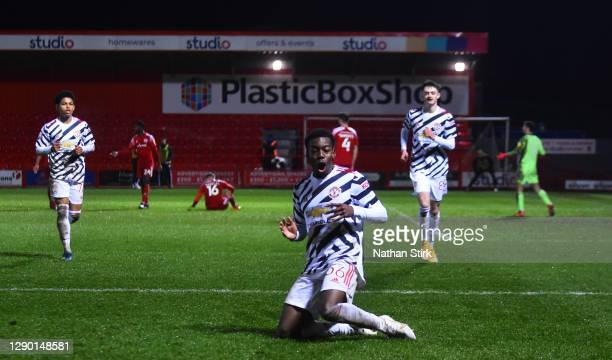 Anthony Elanga of Manchester United U21's celebrates after he scores their second goal during the EFL Trophy match between Accrington Stanley and...