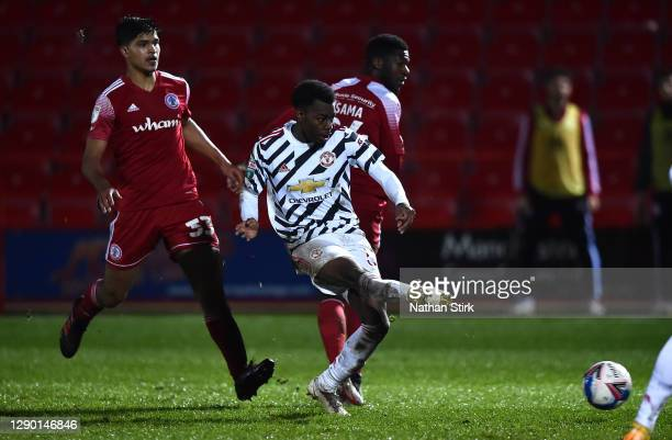 Anthony Elanga of Manchester United U21's scores their second goal during the EFL Trophy match between Accrington Stanley and Manchester United U21`...