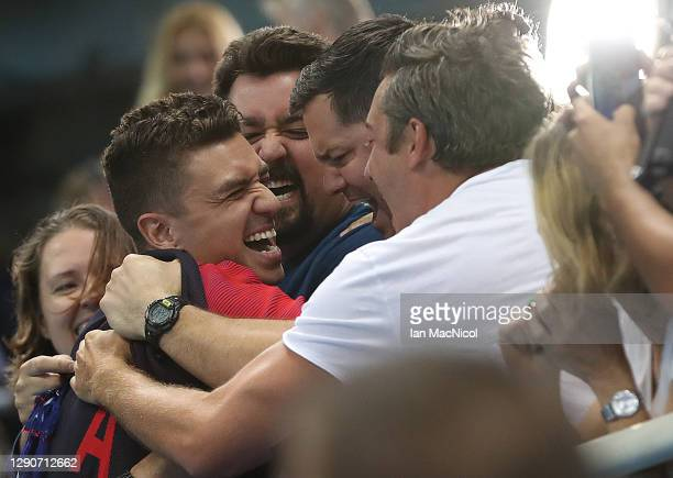 Anthony Ervin of United States celebrates after receiving his Gold medal from the Men's 50m Freestyle on Day 7 of the Rio 2016 Olympic Games at the...