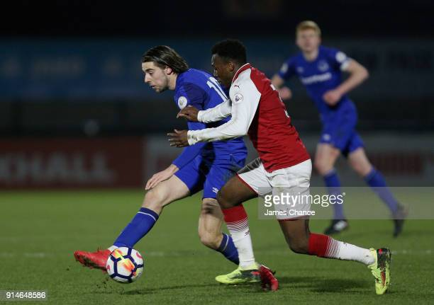 Anthony Evans of Everton is challenged by Tolaji Bola of Arsenal during the Premier League 2 match between Arsenal and Everton at Meadow Park on...