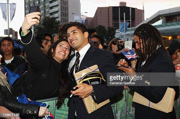 Anthony Fainga'a and brother Saia Fainga'a of the Wallabies pose for photographs and sign autographs during the Australian Wallabies IRB Rugby World...