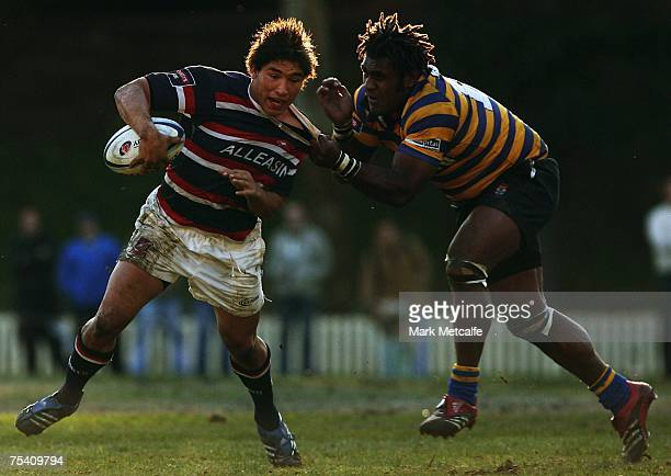 Anthony Faingaa of Eastern Suburbs is tackled during the Shute Shield Qualifying Final match match between Sydney University and Eastern Suburbs at...
