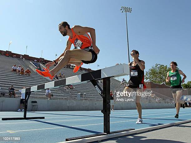 Anthony Famiglietti clears a hurdle during the Mens 3,000 Meter Steeplechase preliminary during the 2010 USA Outdoor Track & Field Championships at...