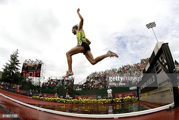 Anthony Famiglietti competes en route to winning the gold medal in the men's 3000 meter steeplechase finals during day seven of the US Track and...