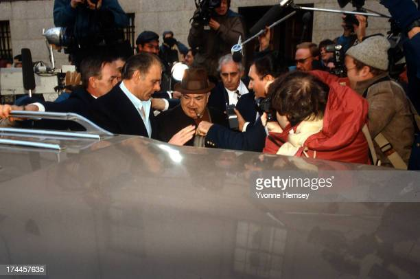 Anthony 'Fat Tony' Salerno boss of the Genovese Crime Family is photographed February 28 1985 leaving the US federal courthouse in Manhattan New York...