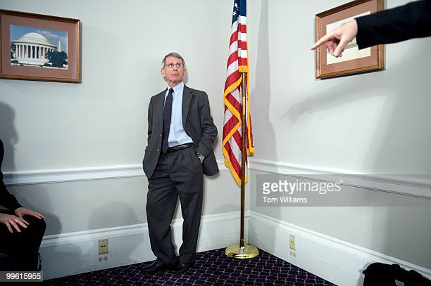 Anthony Fauci director of National Institute of Allergy and Infectious Diseases waits to speak at a briefing on how the National Institutes of Health...
