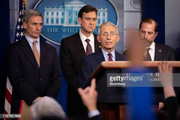 Anthony Fauci director of National Institute of Allergy Infectious Diseases speaks during a news conference in the briefing room of the White House...