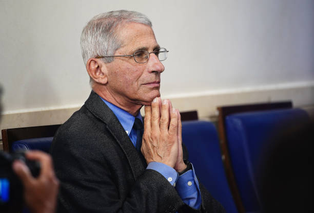 Anthony Fauci, director of the National Institute of Allergy and Infectious Diseases, waits for a Coronavirus Task Force news conference at the White...