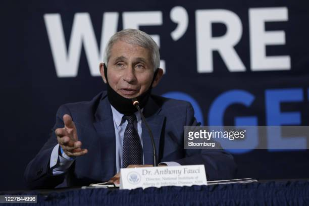 Anthony Fauci, director of the National Institute of Allergy and Infectious Diseases, speaks during a roundtable discussion at the American Red Cross...