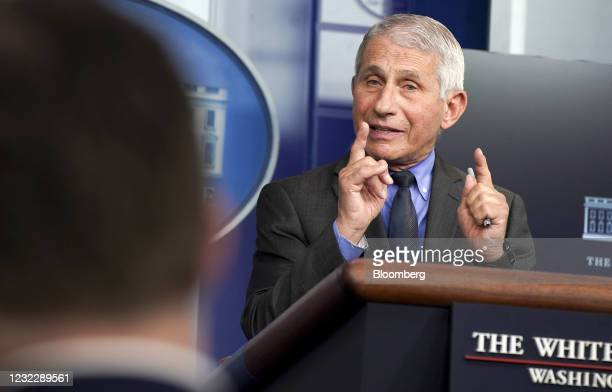Anthony Fauci, director of the National Institute of Allergy and Infectious Diseases, speaks during a news conference in the James S. Brady Press...