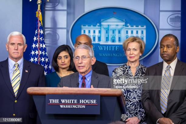 Anthony Fauci director of the National Institute of Allergy and Infectious Diseases speaks in the press briefing room at the White House on March 14...