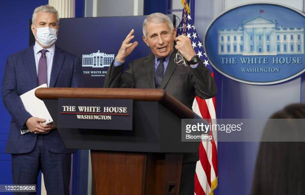Anthony Fauci, director of the National Institute of Allergy and Infectious Diseases, speaks beside Jeff Zients, White House Covid-19 coordinator,...
