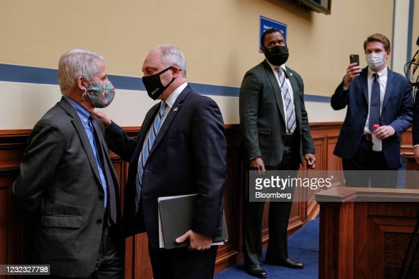 Anthony Fauci, director of the National Institute of Allergy and Infectious Diseases, from left, speaks with House Minority Whip Steve Scalise, a...