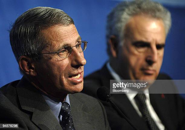 Anthony Fauci director of the National Institute of Allergy and Infectious Diseases from the United States left and Michel Kazatchkine executive...
