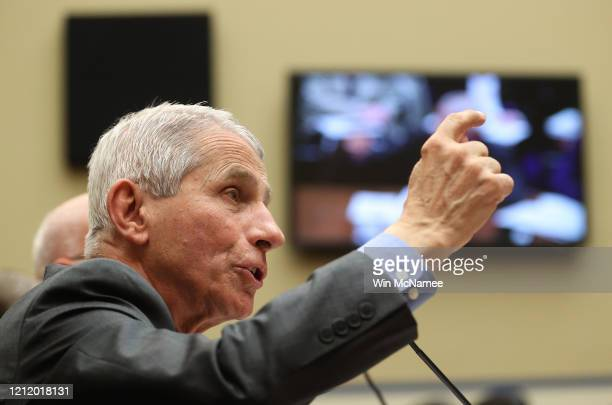 Anthony Fauci director of the NIH National Institute of Allergy and Infectious Diseases testifies during a House Oversight and Reform Committee...