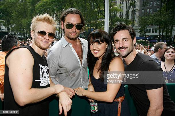 Anthony Fedorov Constantine Maroulis Rachel Potter and Max von Essen attend 1067 Lite FM Presents Broadway in Bryant Park on August 9 2012 in New...