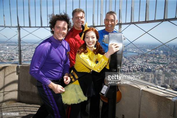 Anthony Field Emma Watkins Lechlan Gillespie and Simon Price of The Wiggles perform at The Empire State Building on June 12 2018 in New York City