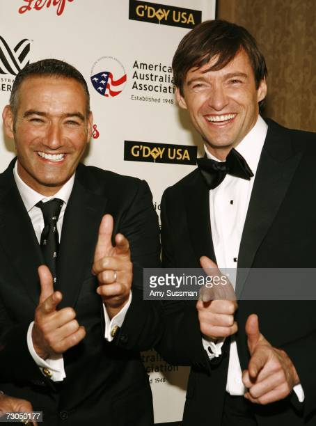 Anthony Field from The Wiggles and Hugh Jackman attend the 2006 Australia Day Ball to honor Olivia Newton John at Cipriani Wall Street on January 19...