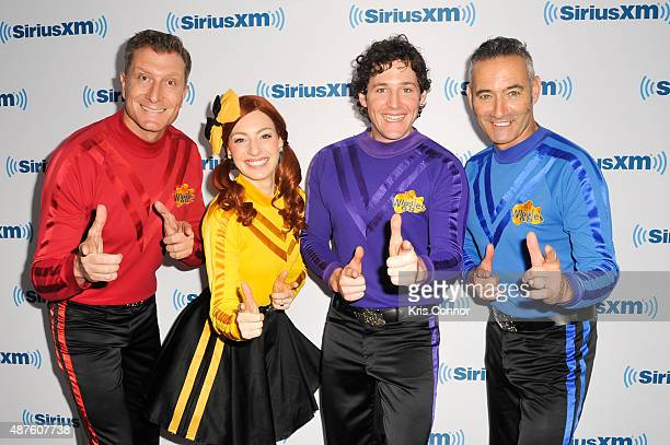 Anthony Field Lachlan Gillespie Emma Watkins and Simon Pryce of The Wiggles pose for a photo at the SiriusXM Studios on September 10 2015 in New York...