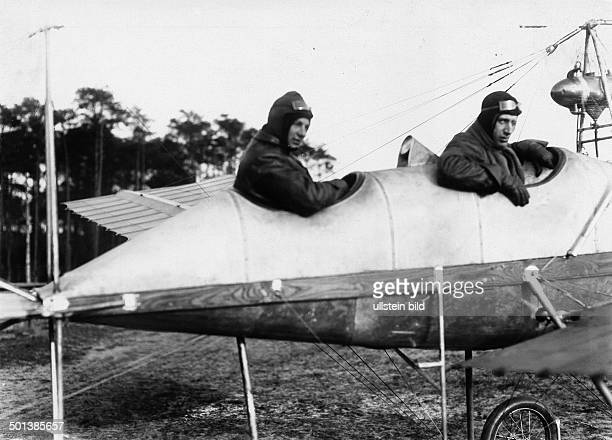 Anthony Fokker Dutch aviator founder of the Fokker aircraft company with passenger Von Arnim in an aircraft on Johannisthal airfield near Berlin...