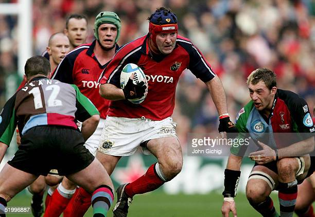 Anthony Foley of Munster in action during the Heineken Cup Rugby game between Harlequins and Munster on January 15 2005 at Twickenham England