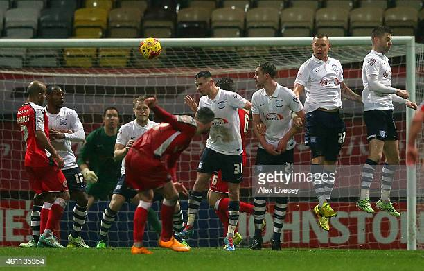 Anthony Forde of Walsall scores the opening goal from a free kick during the Johnstone's Paint Northern Area Final First Leg match between Preston...