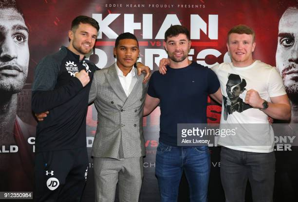 Anthony Fowler Conor Benn Scott Fitzgerald and Tom Farrell after a press conference ahead of the Amir Khan v Phil Lo Greco fight at the Hilton Hotel...