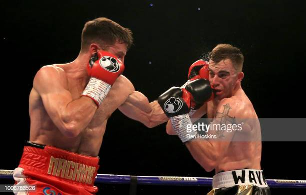 Anthony Fowler punches Craig O'Brien during the Super-Welterweight fight between Anthony Fowler and Craig O'Brien at The O2 Arena on July 28, 2018 in...