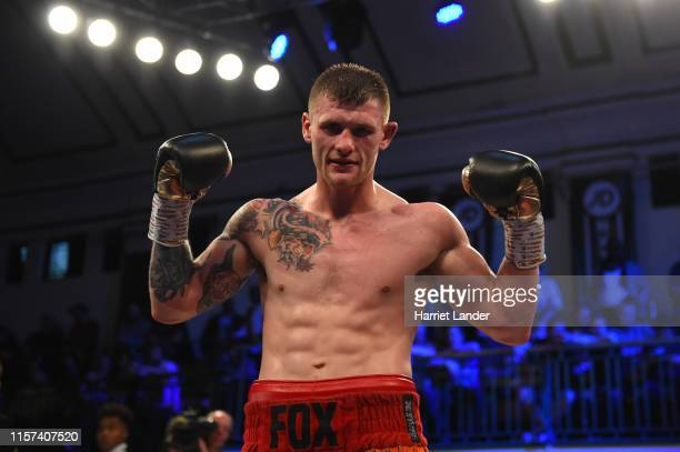 Anthony Fox celebrates following his victory in the LightHeavyweight fight between Duane Sinclair and Anthony Fox at York Hall on June 21 2019 in...