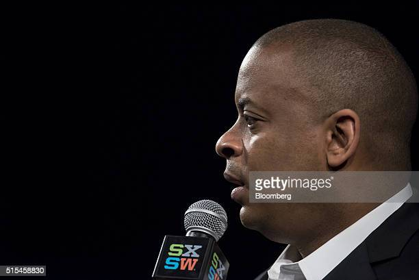 Anthony Foxx US secretary of transportation speaks during the South By Southwest Interactive Festival at the Austin Convention Center in Austin Texas...