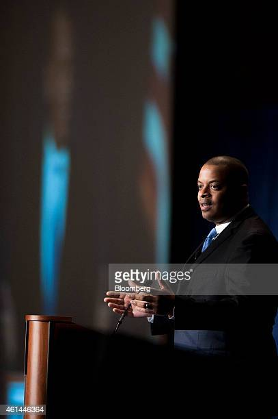 Anthony Foxx US transportation secretary speaks at the the Transportation Research Board annual meeting in Washington DC US on Monday Jan 12 2015...