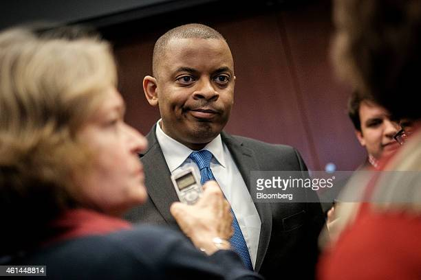 Anthony Foxx US transportation secretary speaks to members of the media after making an address at the Transportation Research Board annual meeting...
