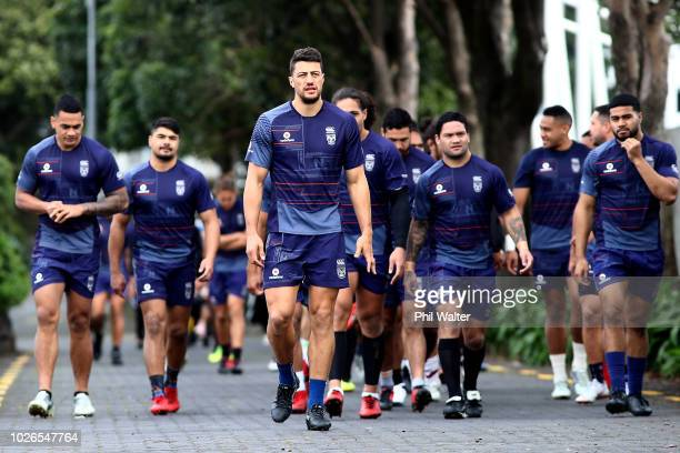 Anthony Gelling leads the team into training during a New Zealand Warriors NRL training session at Mount Smart Stadium on September 4 2018 in...