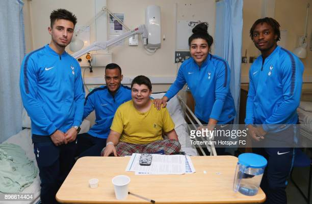 Anthony Georgiou Michel Vorm Renee Hector and Kazaiah Sterling meet a young patient during a Tottenham Hotspur player visit at Princess Alexandra...